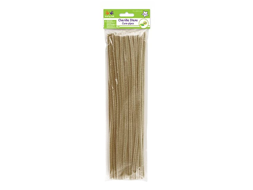 Krafty Kids GC024A Chenille Stems, Pipe Cleaners, 6mm by 12in, Beige, 40-Piece, 12