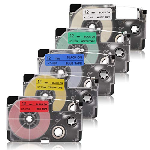 5x Labelwell 12mm x8m 1/2' x 26.2' Compatibile XR-12WE XR-12RD XR-12BU XR-12YW XR-12GN Cassetta di etichette per Casio KL-60 KL-120 KL-820 KL-60SR KL-70e KL-100 KL-200 KL-300 CW-L300 Etichettatrice