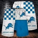 Pantalons De Plage pour Hommes NFL Detroit Lions Rugby Fan 3D Imprimer Gym Shorts Shorts De Sport D'occasion pour La Course De Formation A-XXXL