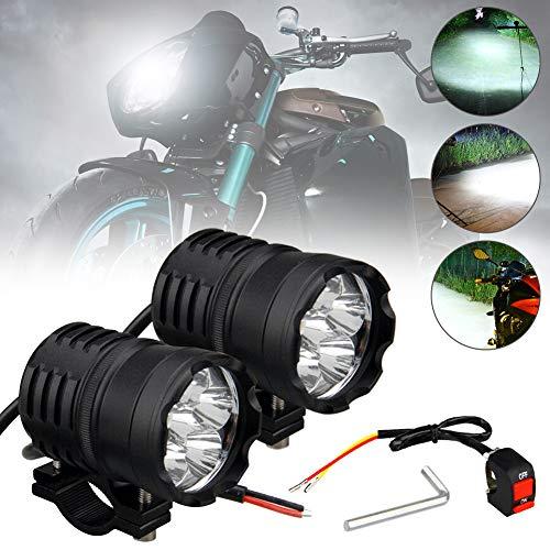 MOTOLIMO 60 W focos LED para motocicleta, faros delanteros universales, 6 ledes, luces antiniebla, luces auxiliares, 12 V 24 V con interruptor, ajuste para triciclos y quads