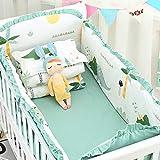 ZOOMY 5 pièces Ensemble de literie pour bébé Lavable Tout-Petit lit de bébé Pare-Chocs Drap de lit taie d'oreiller - 4# Dinosaure