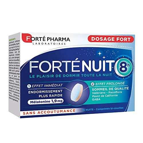 FortéNuit 8h | Complément Alimentaire à base de Mélatonine et Plantes - Sommeil de Qualité | 15 comprimés Bi-couches