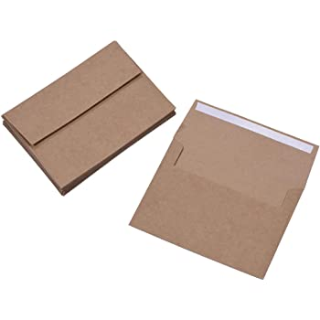 100 Pack, Size A2 , Thinck Brown Kraft Paper Envelopes | Self Sealing Adhesive| Perfect for Weddings, RSVP, Invitations, Baby Shower,Greeting Cards,Announcements, Thank You Notes| 4.375 x5.75 Inches