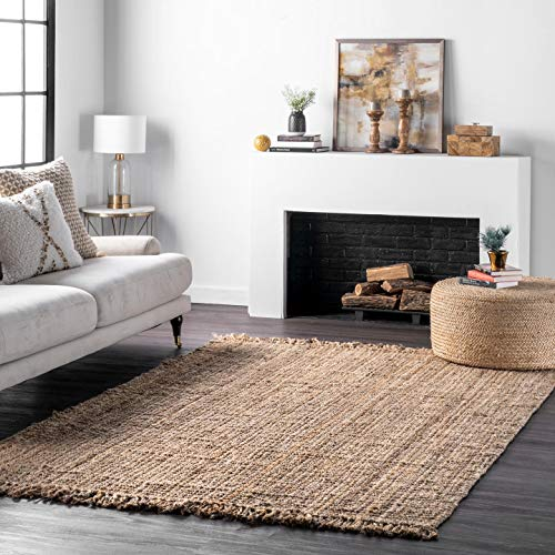 nuLOOM Hand Woven Chunky Natural Jute Farmhouse Area Rug, 6' x 9', Natural