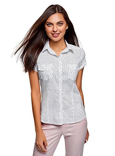 oodji Ultra Damen Bedrucktes Baumwoll-Hemd, Weiß, DE 36 / EU 38 / S