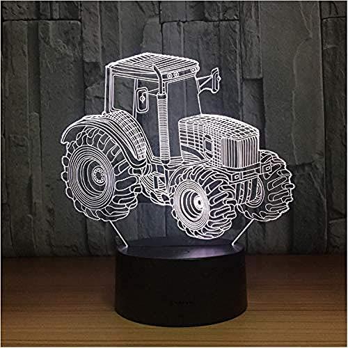 3D Lámpara de LED de luz nocturna Agricultural tractors decoración del hogar y para codormir Con interfaz USB, cambio de color colorido