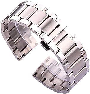 DFKai1run Correa de Acero Inoxidable, Pulsera de Correa Acero Inoxidable Blue Silver Ladies Metal Strap Enlace Recto 18 20...