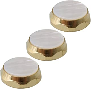 Yibuy Golden Trumpets Finger Buttons Zinc Alloy White Shell Inlays Pack of 3