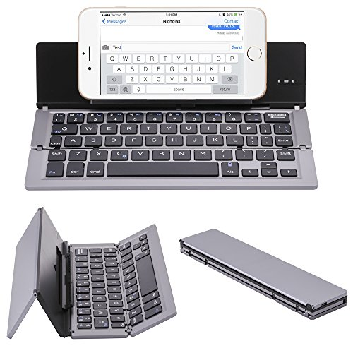 Ultra-Thin foldable Aluminum Bluetooth Keyboard with Tablet/Phone Stand