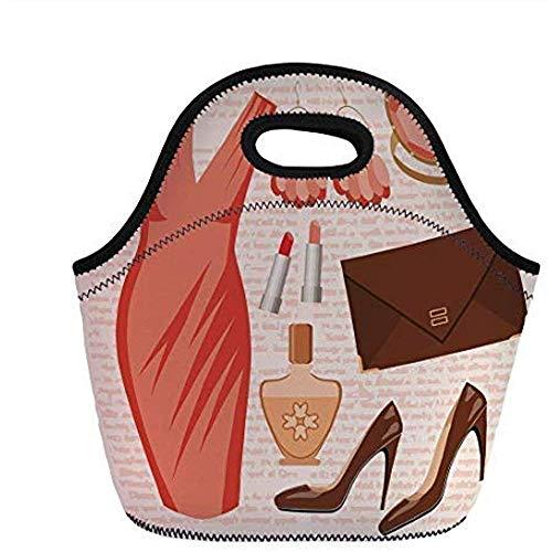 Accessoires Mode Cocktail Jurk Lippenstift Oorbellen Hoge Hakken Decoratieve, Zalm Bruin Perzik, voor Kinderen Volwassen Thermische Tassen