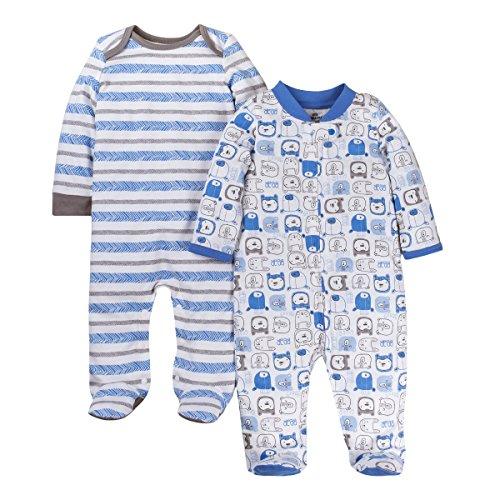 Lamaze Organic Baby Baby Boys' Sleep N Play, Footed Sleepwear, 2 Pack, Blue Bears and Stripes, Preemie
