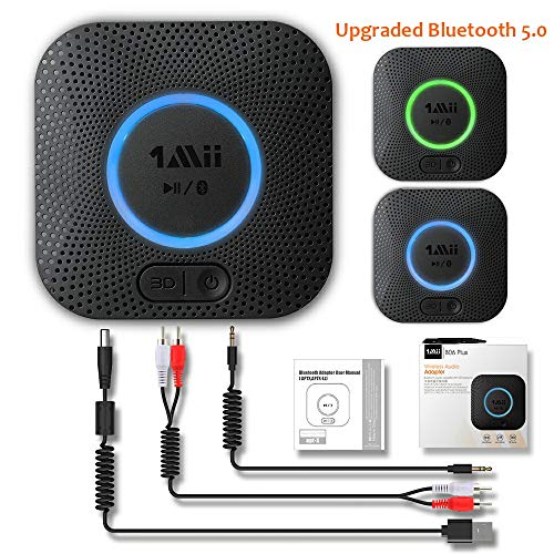 [Upgraded] 1Mii Receptor Bluetooth 5.0, Adaptador Audio Bluetooth Hi-Fi para Altavoz con AUX 3.5 mm Jack/RCA, Receptor de Audio Inalámbrico con 3D Surround AptX LL para Estéreo Hogar, Largo Alcance