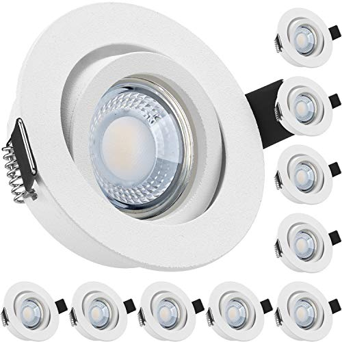 10er LED Einbaustrahler Set extra flach in weiß matt mit 5W LED von LEDANDO - dimmbare Farbtemperatur 1800-3000K Warmweiß - 60° Abstrahlwinkel - 50W Ersatz - dimmbar - rund