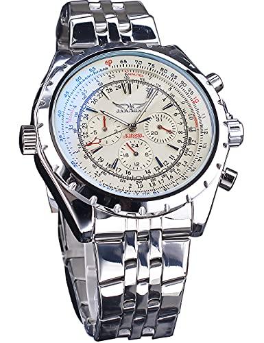 Jaragar Calendario de negocios Reloj de pulsera automático luminoso casual esqueleto relojes para hombres deportes plata acero inoxidable reloj masculino
