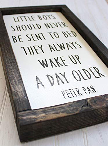Ced454sy Peter Pan cartel pintado a mano para decoración de pared de cuento de hadas para guardería, decoración de madera para niños pequeños
