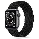 Tasikar Correas Solo Loop Trenzada Compatible con Correa Apple Watch 44mm 42mm 40mm 38mm, Pulsera de Repuesto Nylon de Elástica Compatible con iWatch Serie 6 5 4 3 2 1, SE(38mm/40mm-S, Negro)