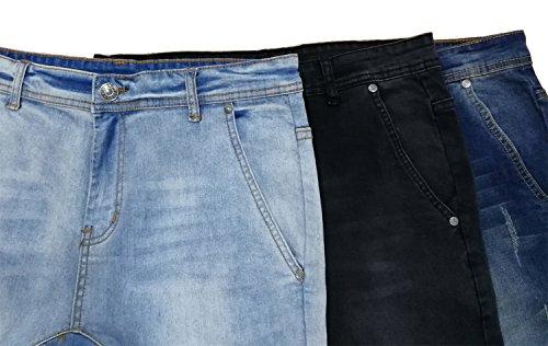 Sarriben Men's Distressed Slim Fit Drop Crotch Elastic Denim Jogger Jeans Black 34