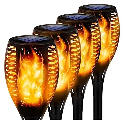 SKYWPOJU Luces Solares para Jardín 12 LED, Luces Solares para Jardín con Linterna LED, Efecto De Llama Parpadeante Realista, IP65 A Prueba De Agua (Color : 4psc)