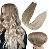 Full Shine Tape in Hair Extensions 20 Inch Ombre Tape in Extensions Human Hair Balayage Color 8 Ash Brown Fading to 60 Platinum Blonde and 18 Ash Blonde Hair Extensions 50 Gram Invisible Tape