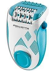 Rowenta Skin Spirit EP2910 - Depiladora de 2 velocidades con sistema anti dolor de 24 pinzas, cepillo limpiador, accesorio para zonas sensibles y bolsita de viaje