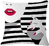 Bernice Winifred Fondo Negro Simple Moda Chica Maquillaje Algodón Lino Cojines Fundas Funda de cojín Sofá Decorativo Cuadrado (para Usar lápiz Labial) -Usar Perfume(18×18)