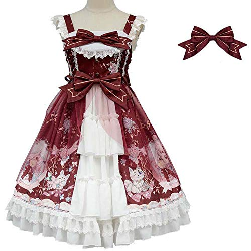 Bycloth Lolita Kleid Mantel Bluse-Hemd Womens Cosplay Kostüme Rotes Langarm Knielange Bugdesign,Rot,S