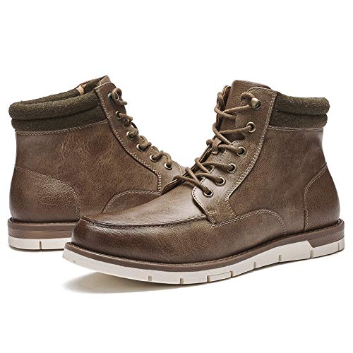 Kkyc Mens Boots Fashion Waterproof Hiking Boots Casual Work Boots Slip on Lace-up Chukka Boots 9 M (Brown)
