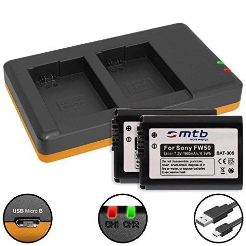 2 Baterías + Cargador Doble (USB) para Sony NP-FW50 / RX10 II, III/Alpha 5100, 6000, 6300, 6500 / DSLR-, NEX-, SLT-, ILCE… - Ver Lista! (Contiene Cable Micro USB)