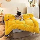 DJLOOKK Colchón de futón Enrollable Plegable, colchón de Suelo japonés de tamaño Completo, colchón de Tatami Grueso para Dormir, colchón de Cama, colchón de Camping portátil,Amarillo,200x220cm