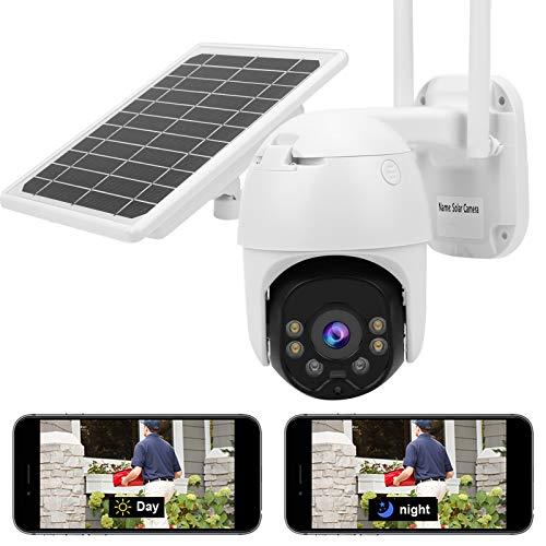 Asixxsix CCTV al Aire Libre, cámara Solar con Monitor de Seguridad para el hogar de 8W 1080P, visión Nocturna para Granjas de cría, entradas para el(WiFi Version)