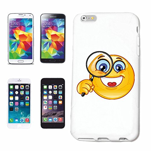 Bandenmarkt telefoonhoes compatibel met iPhone 6 vrolijke smiley met groot vergrootglas Smileys Smilies Android iPhone Emoticons IOS GRINSE gezicht emoticon app Hardcas