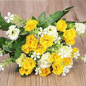xiaokeai Flor Artificial, Paquete Individual, clavel-25 claveles – Amarillo Flor Artificial,Flor Artificial para…