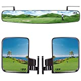 10L0L Golf Cart Folding Side Mirror and Panoramic Rear View Mirror Kit for EZGO, Club Car, Yamaha