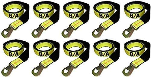 BA Products Ships in 1 to 2 Business Days! Two Free Straps 38-3D-x10, Set of 10 Straps with Snap Hooks for Dynamic, Century, Vulcan Autoloader Wheel Lifts, Wreckers, Tow Trucks