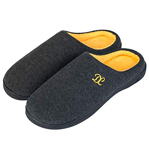 DL Mens-Memory-Foam-Slippers, Slip on Bedroom Slippers for Mens Indoor Outdoor, Men's House Slippers Non-Slip Hard Rubber Sole, Warm Soft Flannel Lining Man Slippers Black Gray Navy