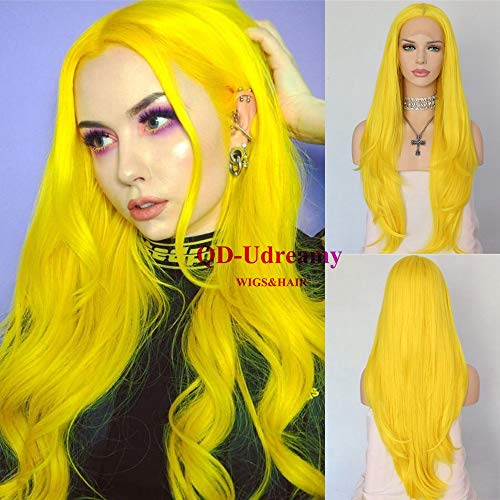 QD-Udreamy Yellow Lace Front Wigs Heat Resistant Soft Front Lace Hair Replacement Synthetic Hair Wigs