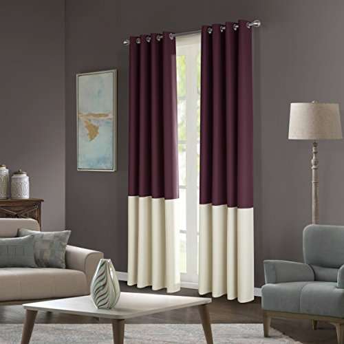 """Dreaming Casa Stitching Style Two Tone Curtains Light Blocking Drapes Color Block Curtains 42"""" Wide Blackout Curtains Window Treatment Grommet Top 2 Panels Maroon Ivory 42"""" W x 84"""" L"""