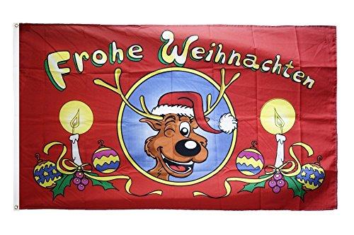 Flaggenfritze Fahne/Flagge Frohe Weihnachten Rentierkopf + gratis Sticker