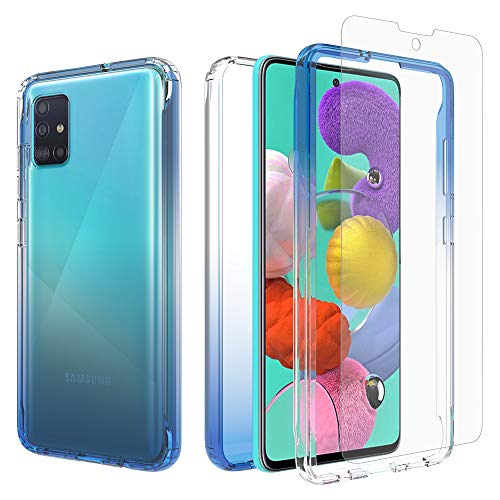 iRunzo 2 in 1 Hybrid Rugged Armor Case for Samsung Galaxy A51 (4G) Soft TPU Back Cover + PC Bumper Transparent Color-Changing 360° Full Body Protect + Screen Protector (Blue)