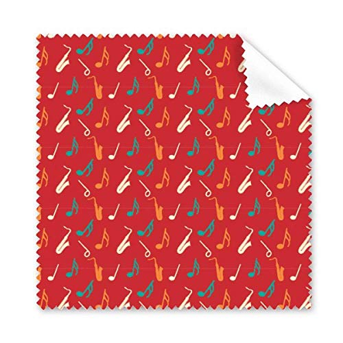 Red Saxophone Music Notes Cleaning Cloth Phone Screen Glasses Cleaner 5pcs