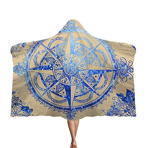 Manta con capucha Mandala, manta de felpa de doble capa para niños, manta de siesta de terciopelo ártico, suave y cálida,I,150 * 200cm