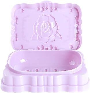 Botreelife バラ彫刻 石鹸ボックス 蓋付き 石鹸置き 防水 バスルーム 排水 お風呂 携帯用 トレイ (パープル)