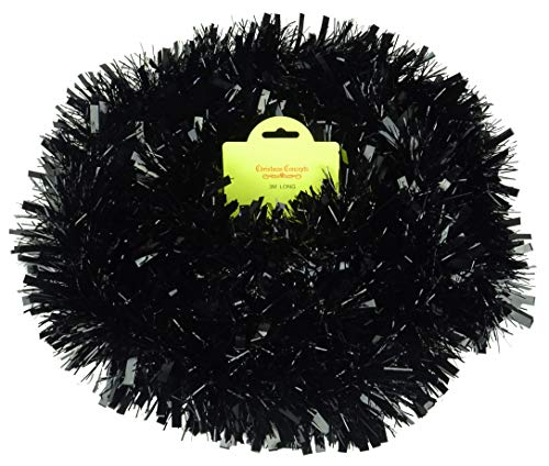 Christmas Concepts 3m / 9.8ft Chunky/Fine Christmas Tinsel - Christmas Decoration Tinsel (Black)