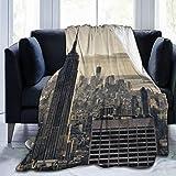 Manta de Tiro Ligero Ultra Suave,Grattacieli Di Nueva York en Invierno, EE,Sala de Estar/Dormitorio/Sofá Cama Edredón de Franela 4 Estaciones,50' x 60'