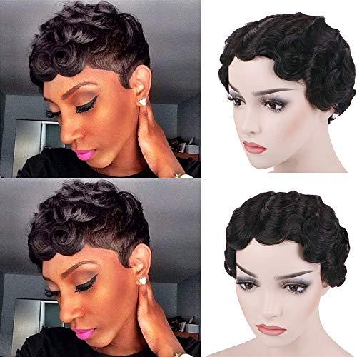 Queentas 100% Remy Cheveux Humains Court Classique Finger Wave Maman Perruques pour Femmes Partie Latérale Vintage Coiffure Naturel Noir