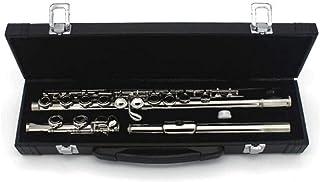 LVSSY-Flauta 16 Agujeros E-Key C Instrumento de Plata Chapado en níquel Plateado Cola Estudiante Principiante Calificación Profesional Juego Universal