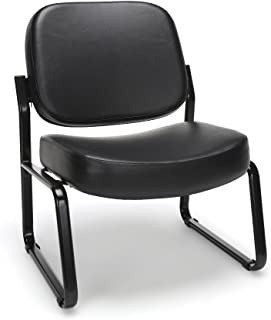 OFM Model 409-VAM Big and Tall Armless Guest and Reception Chair, Anti-Microbial/Anti-Bacterial Vinyl, Black
