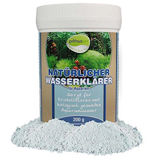 primuspet Natürlicher Aquarium Wasserklärer 200 g (Bindet zuverlässig kleinste Schmutzpartikel für kristallklares Wasser und entfernt Trübungen für bessere Wasserwerte)