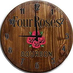 TBA Large Wall Clock Four Roses Bourbon Whiskey Bar Sign Home Decor Classic Walnut 18 inch Wall Decor