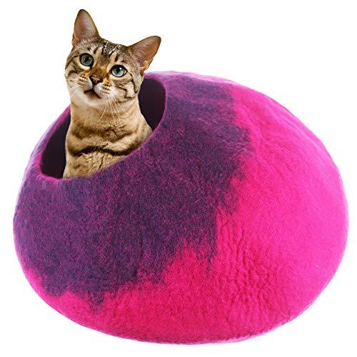 Juccini Handgefertigte Katzenhöhle aus Filz für Katzen und Kätzchen, perfektes Katzenbett für Innenkatzen – gefilzt aus 100{ffc24d0859e1c84d8161adab9f13db3cefd8f76caa5db95a30fdd0e508dc2c8f} natürlicher Wolle (Pink Cave, Medium)
